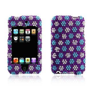 Apple iPod Touch Purple Snow Flakes Design Full Diamond Case