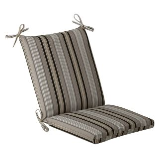 Pillow Perfect Outdoor Black/ Beige Striped Square Chair Cushion