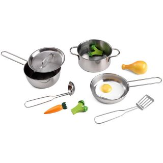 KidKraft Metal Pots, Pans and Play Food Set for Little Chefs Kitchen