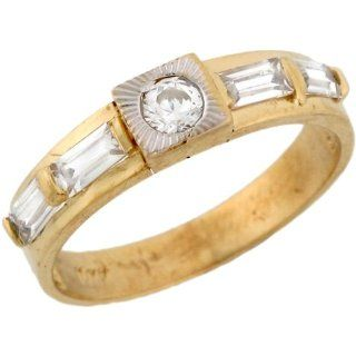 10k Two Toned Gold Square Face White CZ Modern Wedding