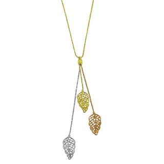 14k Three color Gold Leaf and Diamond cut Bead Lariat Necklace