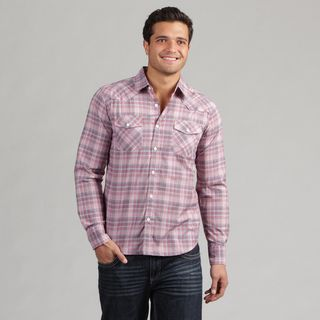 191 Unlimited Mens Pink Plaid Shirt