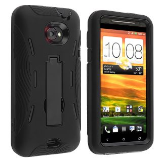 Black Hybrid Case with Stand for HTC EVO 4G LTE
