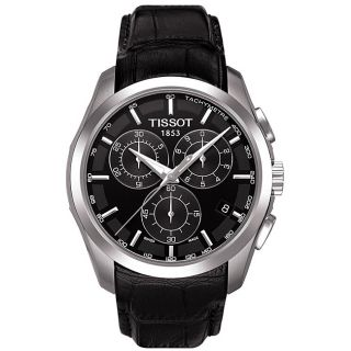 Tissot Mens Couturier Chronograph Black Leather Strap Watch