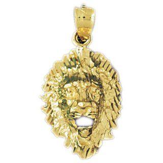 14K Yellow Gold Lion Head Pendant Jewelry
