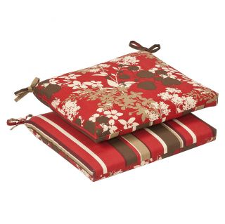 Pillow Perfect Outdoor Red/ Brown Reversible Seat Cushions (Set of 2