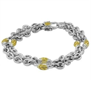 Scott Kay Sterling Silver and 18k Gold Medium Link Bracelet