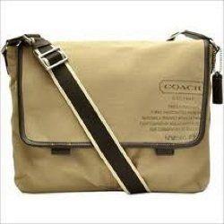 Coach Heritage Web Canvas Laptop Messenger Bag 70587 Kahki