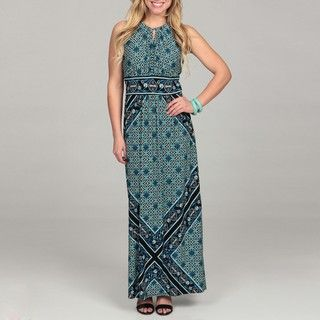 London Times Womens Printed Jersey Maxi Dress