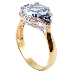 Michael Valitutti 14k Gold Santa Maria Aquamarine, Sapphire and