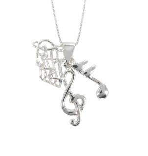 Sunstone Sterling Silver Music Note Trio Necklace
