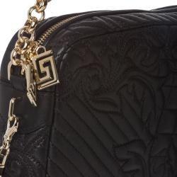 Versace Vanitas Quilted Black Leather Shoulder Bag