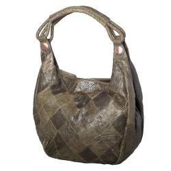 David & Scotti Winter Patch Glazed Leather Bucket Bag