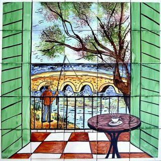 Balcony Beach View 25 tile Ceramic Wall Mural