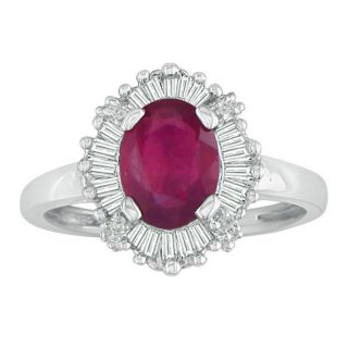 14k White Gold Ruby and 1/4ct TDW Diamond Ring (G H, I1)