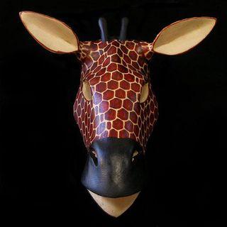 Hand carved Wood African Giraffe Mask (Kenya)