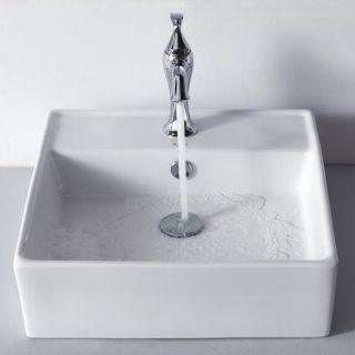 Kraus White Square Ceramic Sink and Ventus Basin Faucet