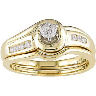 14k Yellow Gold 1/4ct Diamond Bridal Set