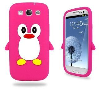 Samsung Hot Pink Penguin Silicone Case Cover with Free