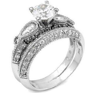 .925 Sterling Silver Wedding Ring Set, Diamond Color Round