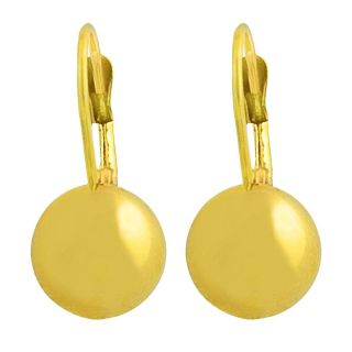 14k Yellow Gold Polished Bead Ball Leverback Earrings