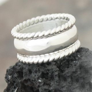 Sterling Silver Wide Rope Edge Band (Mexico)