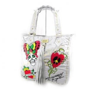 Bag designer Ed Hardy silver colored. Clothing