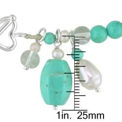 Sterling Silver Turquoise and Freshwater Rice Pearl Bracelet (2 6 mm