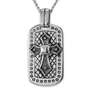 Stainless Steel Antiqued Cross Dog Tag Necklace