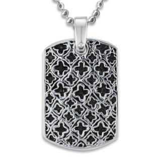 Stainless Steel Medieval Antiqued Dog Tag Necklace