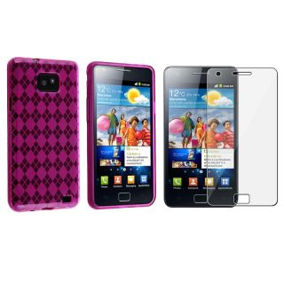 Pink Argyle TPU Case/ Screen Protector for Samsung Galaxy S II i9100