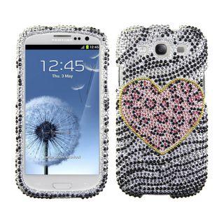 Premium Samsung Galaxy S III/ S3 Zebra Leopard Heart Rhinestone Case