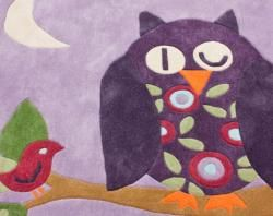 Handmade Kids Nighttime Owl Purple Rug (43 Square)