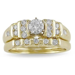 14k Two tone Gold 3/4ct TDW Diamond Bridal Ring Set (H I, SI1 SI2