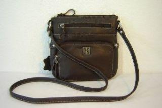 Giani Bernini Leather Crossbody Handbag/Purse ~ Brown In
