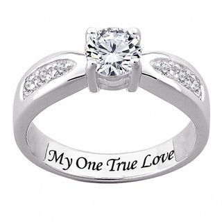 Sterling Silver Engraved CZ Wedding style Ring