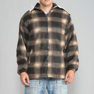 Maxxsel Mens Brown Plaid Fleece Jacket with Detachable Hood