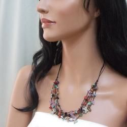 Multi strand Gemstone Cluster Butterfly Necklace (Thailand