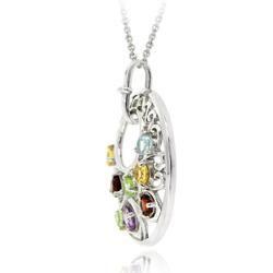 Glitzy Rocks Sterling Silver Multi gemstone Medallion Necklace