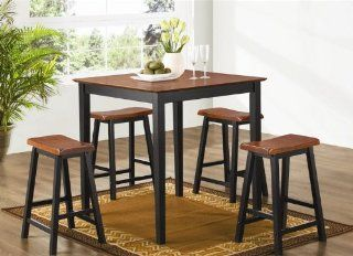Black Oak Finish Pub Dining Set   Coaster 150293: Home
