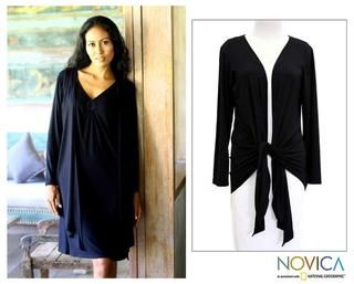 Modal Chic In Black Wrap Top (Indonesia)