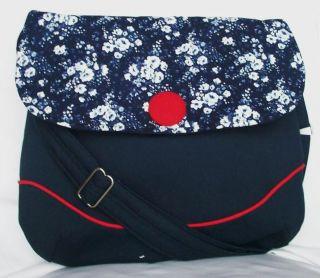 ELMenns Navy Blue and White Floral Cotton Shoulder Bag