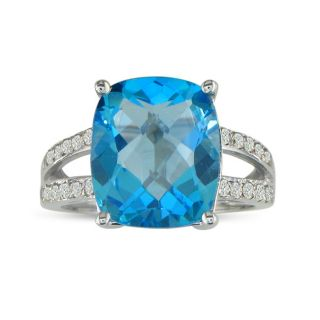 10k White Gold Blue Topaz and 1/8ct TDW Diamond Ring