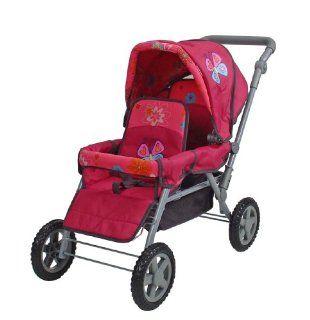 KNORRTOYS 16688   Zwillingswagen Big Twin pink mit Schmetterling