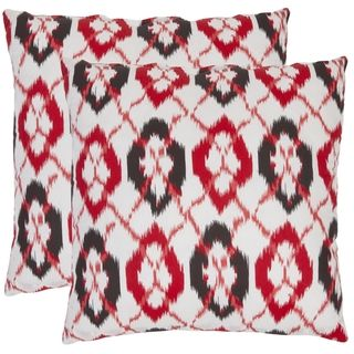 Ikat 18 inch White/ Red Decorative Pillows (Set of 2)