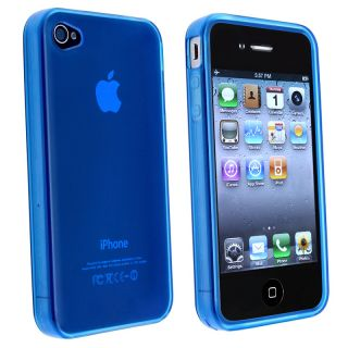 AccStation Clear Dark Blue TPU Rubber Skin Case for Apple iPhone 4