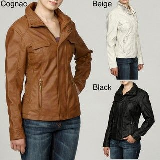 Collezione Womens Plus Size Faux Leather Stand Collar Ruched Jacket