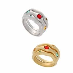 NEXTE Jewelry Red, Green and Yellow CZ 3 piece Stackable Ring Set