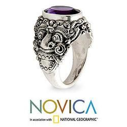 Mens Sterling Silver Beloved Barong Amethyst Ring (Indonesia