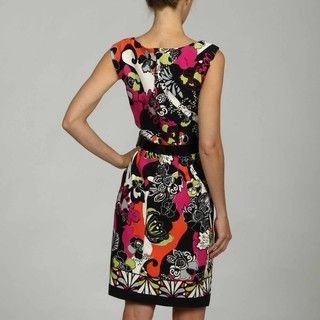 AA Studio Womens Notched Front Belted Floral Dress